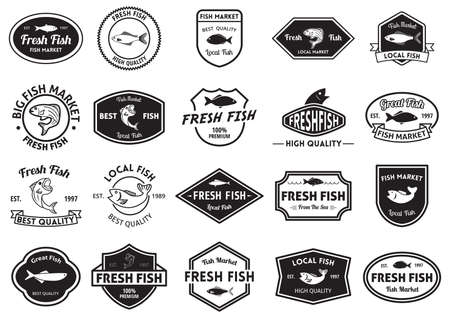 established: fresh fish market and quality labels collection Illustration