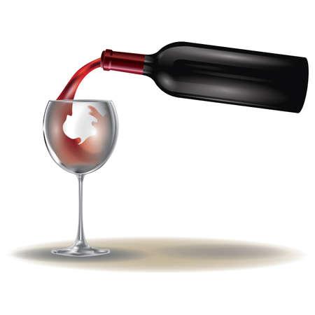 gieten van wijn in wijnglas Stock Illustratie