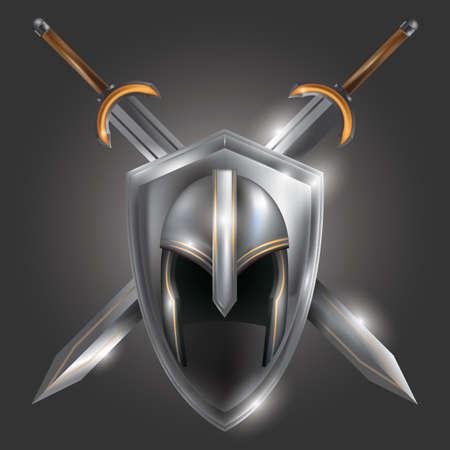 crossed swords: warrior helmet with crossed swords