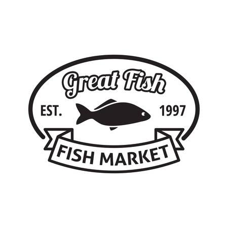 established: fish market label Illustration