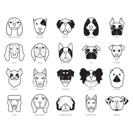 fox terrier: set of dogs Illustration
