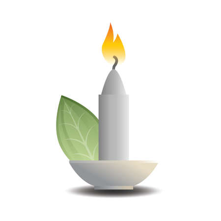 lit: lit candle with a leaf