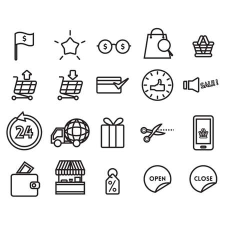 simple store: set of shopping icons