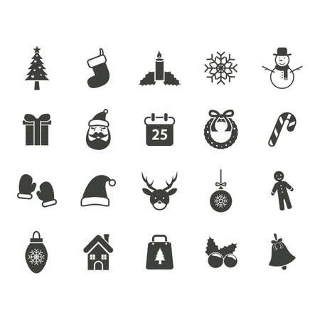 house of santa clause: set of christmas icons