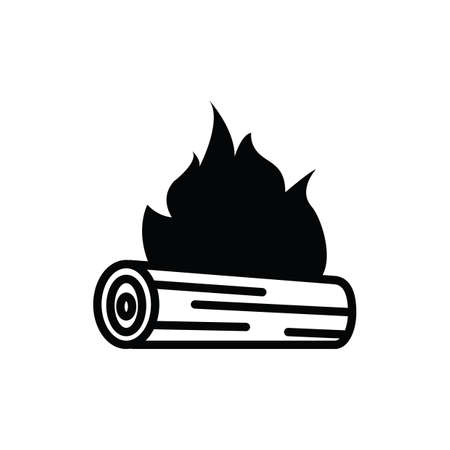 log: log on fire silhouette Illustration