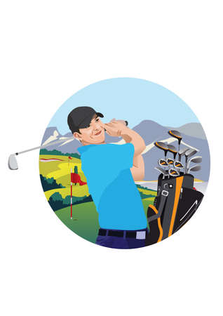 golf bag: golfer and golf bag Illustration