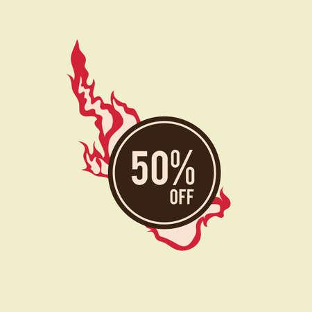 on and off: 50 percent off label design Illustration