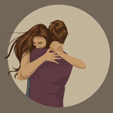 abrazos Pareja Ilustración de vector
