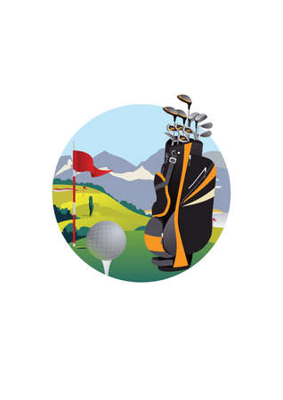 golf bag: golf flag and golf bag
