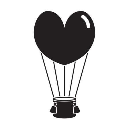 heart balloon: hot air heart balloon Illustration