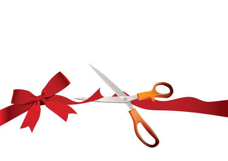 unveil: cutting the red flower tied ribbon