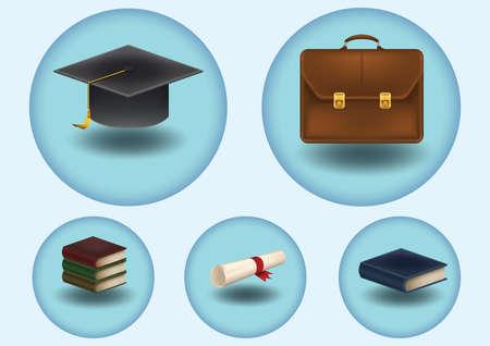 conjunto de iconos de la educación Ilustración de vector