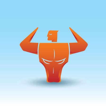 optical: bodybuilder and bull optical illusion