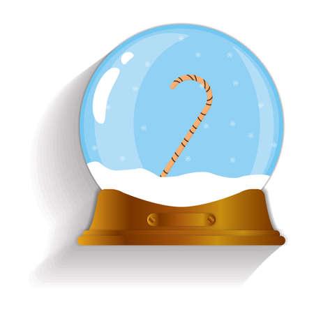 snow globe: candy cane snow globe Illustration