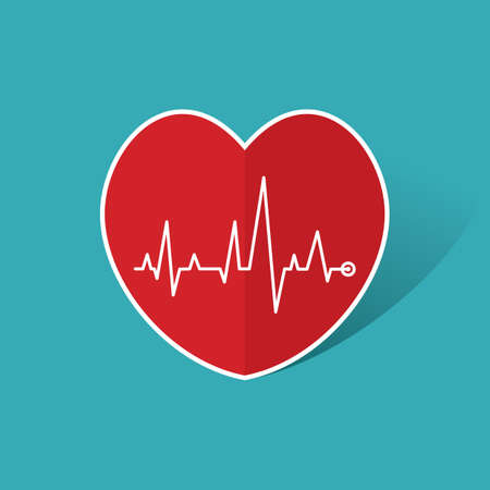 cardiogram: cardiogram on red heart Illustration