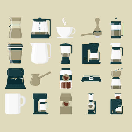long handled: set of coffee icons Illustration