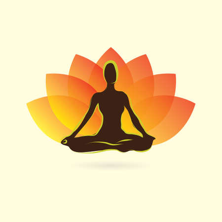 woman silhouette practising yoga in lotus pose