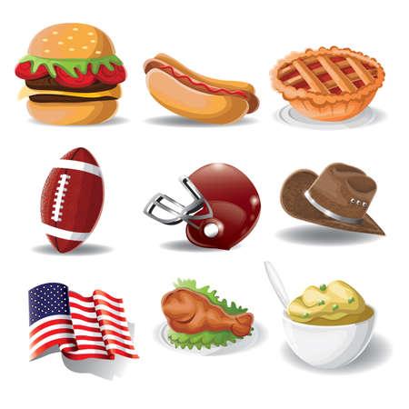 american football helmet set: set of american icons Illustration