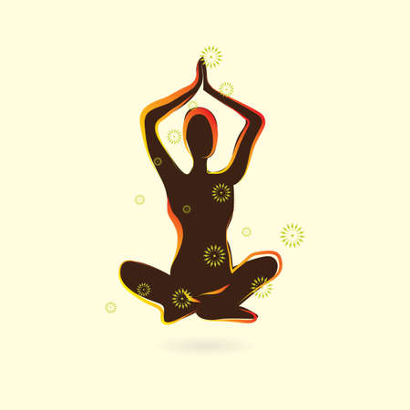 easy: woman silhouette practising yoga in easy pose variation Illustration