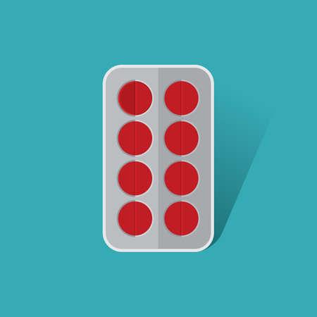 a tablet blister: pills in blister tablet Illustration