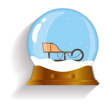sledging: sleigh snow globe Illustration