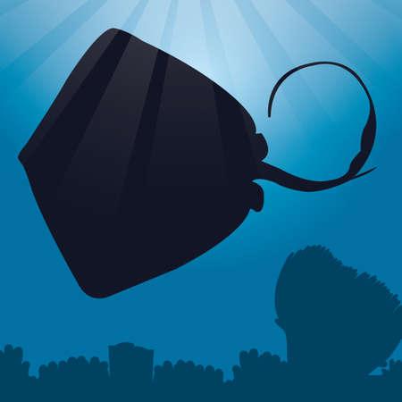 stingray: stingray silhouette Illustration