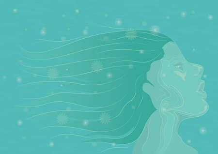 Vrouw met lange haarachtergrond