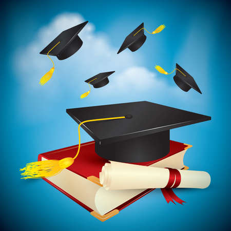 scrool: graduation cap and scroll on a book Illustration