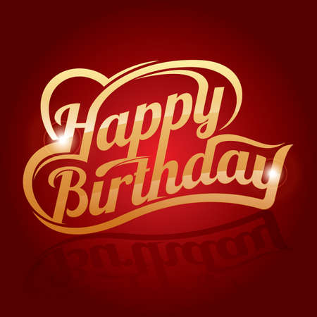 greeting: happy birthday greeting text Illustration
