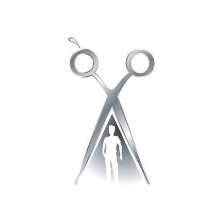 pair of scissors: man under a pair of scissors Illustration