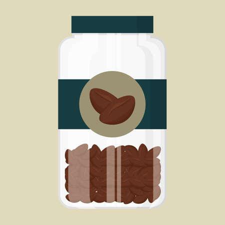 coffee beans: jar of coffee beans