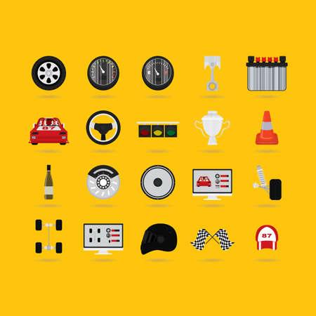 motor racing: set of motor racing icons Illustration