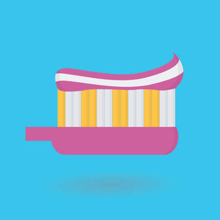 oral care: toothbrush with toothpaste Illustration