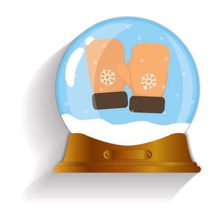 mittens: winter mittens snow globe
