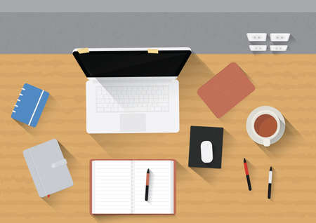 mouse pad: office desk with laptop, gadgets and stationery