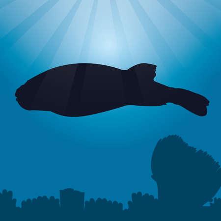 pez globo: pescado silueta