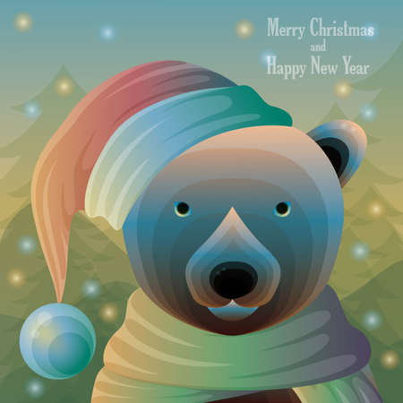 mas: merry christmas and new year greeting card