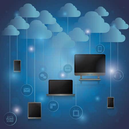 gadgets: computer gadgets with cloud concept