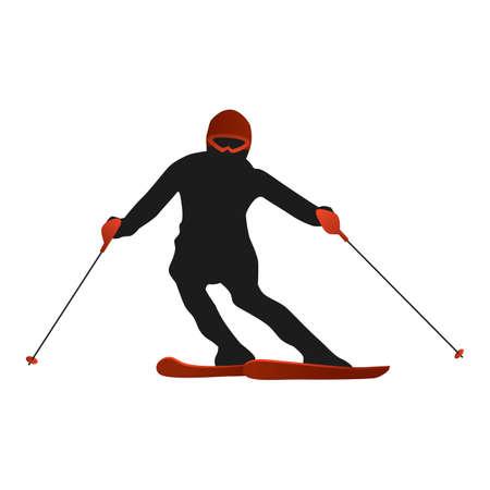 narciarz: narciarz sylwetka Ilustracja