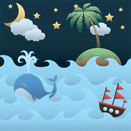 squirt: whale in the sea Illustration