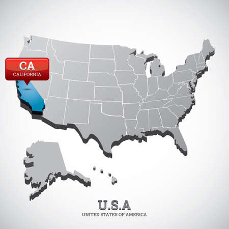 california state: california state on the map of usa