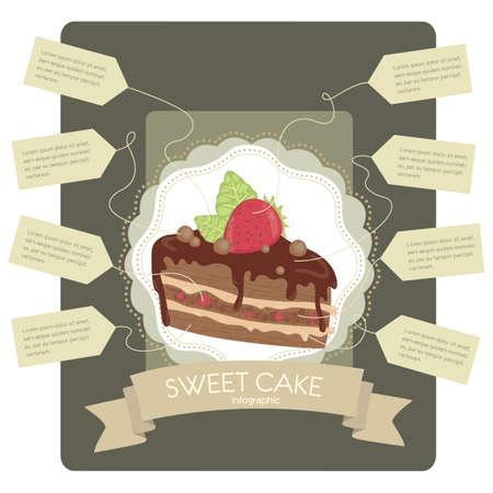 layout strawberry: sweet cake infographic Illustration