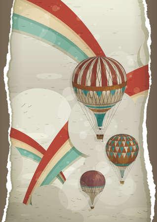 rainbow: rainbow and hot air balloons poster Illustration