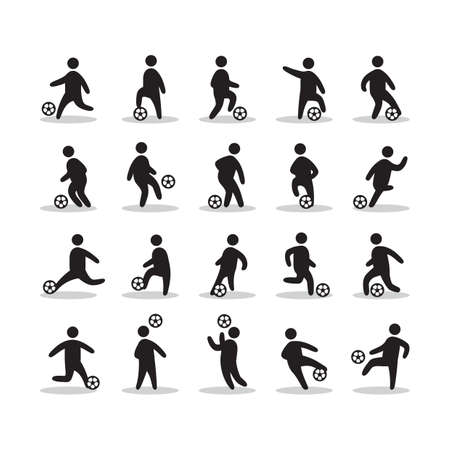 soccer players: collection of soccer players Illustration