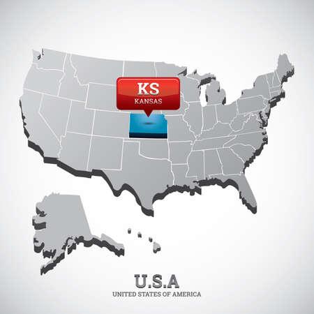 kansas state on the map of usa Illustration