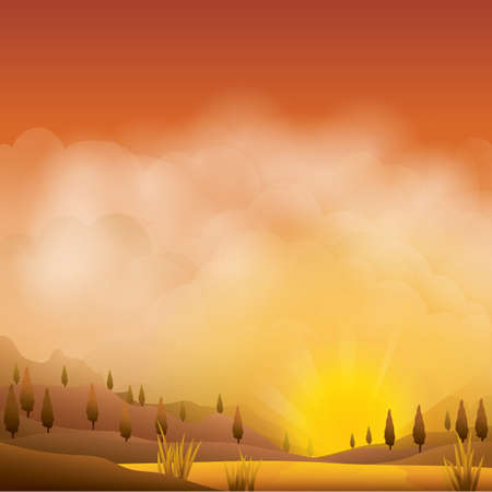 desert landscape: desert landscape Illustration