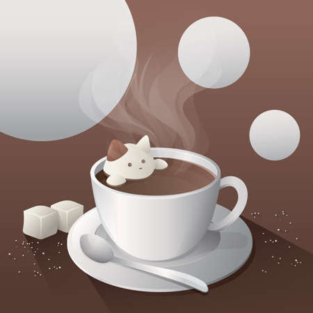 sugar spoon: cup of coffee with coffee art Illustration