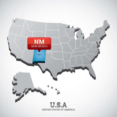 new mexico: new mexico state on the map of usa Illustration