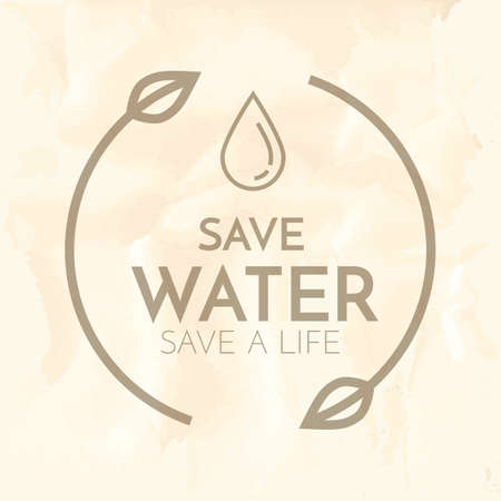 waterdrops: save water label Illustration