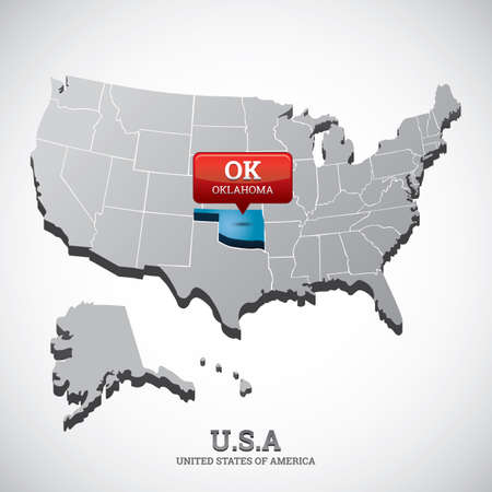 oklahoma: oklahoma state on the map of usa Illustration